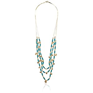 Gold-Plated, Turquoise-Colored Stone, Gold-Tone Discs, and Beaded Three-Row Necklace, 30