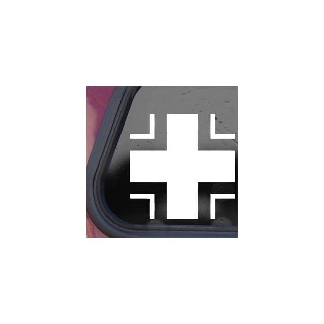 German Deutsch Luftwaffe Wehrmacht Cross White Decal Sticker White Decal Sticker