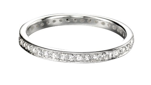 Cubic Zirconia Eternity Stacking Ring in Silver by Elements