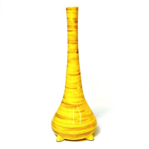 Handmade Ceramic Spun-Bamboo-Style Contemporary Ceramic Flower Vase / Table Art In High Gloss Yellow