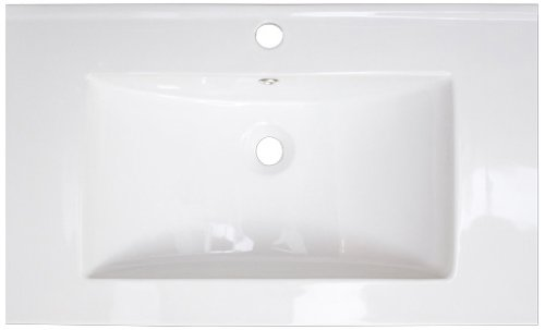American Imaginations 391 32-Inch by 18-Inch White Ceramic Top with Single Hole