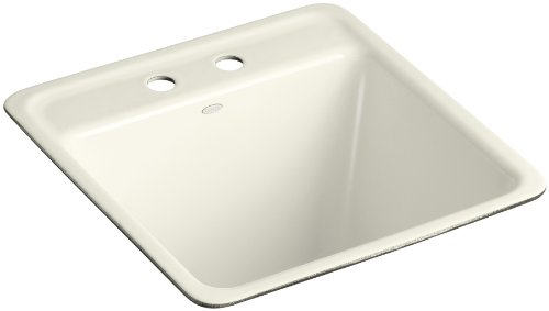 Kohler K-6655-2U-96 Park Falls Undercounter Sink with Two-Hole Faucet Drilling, Biscuit