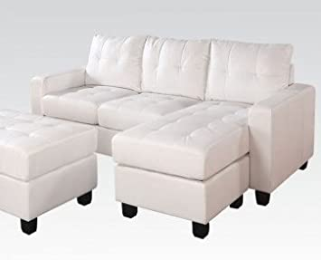 ACME Lyssa Rev. Chaise Sectional and Ottoman, White BLM