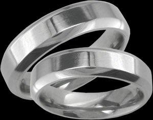 Ella - size 4.25 Titanium Wedding Band Set with Bevelled Edges