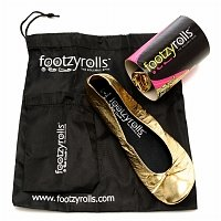 FootzyRolls Rollable Ballet Flats - Glittery Gold Select size: Women's Small 6-7