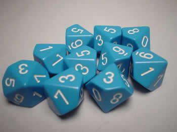 Chessex Dice Sets: Opaque Light Blue with White - Ten Sided Die d10 Set (10) single sided blue ccs foam pad by presta