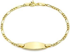 "Carissima 9ct Yellow Gold Children's Semi Hollow Figaro ID Bracelet 16cm/6.25"""