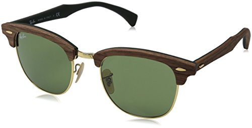 Ray-Ban Mens 0RB3016M Square Sunglasses, Walnut Rubber & Green, 51 mm