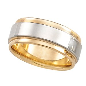Platinum 18k Two-Tone Design Band Ring - Size 9.5 - JewelryWeb
