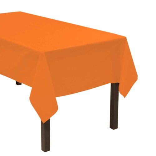 "Party Essentials Heavy Duty Plastic Table Cover, 54 x 108"", Neon Orange"