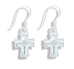 Concave Polished Cross Earrings