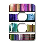 3dRose lsp_112957_6 Colorful Bookshelf Books Rainbow Bookshelves Reading Book Geek Library Nerd Librarian Author 2 Plug Outlet Cover