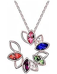 GirlZ! Austrian Crystal Gold Plated Flower Pendant Necklace - Multicolor