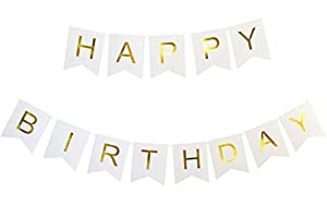 SIFAN Happy Birthday Banner - White and Gold Party Decorations - Photography Prop by SIFAN