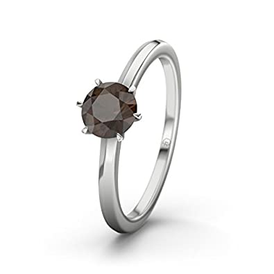 21DIAMONDS Québec Engagement Ring Brilliant Cut Smokey Quartz 9ct White Gold Ladies Engagement Ring