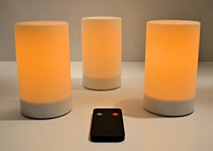 """Inglow CG20305WH3R - 3 Pack Outdoor 5"""" Pillar Flameless Candles with Remote Control - White, Unscented"""