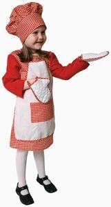 Pretend Red Gingham Girl Chef Child Costume Dress-Up Set Size 8-10