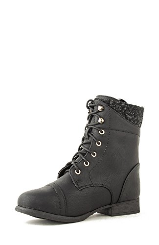 Top Moda Smart-30 Lace Up Sweater Combat Boot - Black Gold