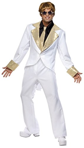 Smiffy'S Men'S 70S Rocket Man Costume With Shirt Front Jacket Trousers And Tie, White/Gold, Large