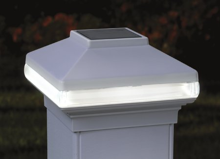 "Solarband Post Cap, Deckorators # 128980, Solar Led Deck Light, 4"" Post, White"