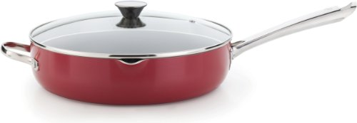 WearEver A82782 Cook and Strain Nonstick Stainless Steel Handle Red Metallic Exterior Jumbo Cooker Fry Pan with Glass Lid Cookware, 5-Quart, Red (Wearever Stainless Cookware Set compare prices)