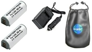 ValuePack (2 Count): Digital Replacement Battery PLUS Mini Battery Travel Charger for Specific Digital Camera and Camcorder Models / Compatible with CANON NB-9L, IXUS 1000HS, IXY 50S, PowerShot SD4500 IS Charges with Intelligent Charge Technology - Includes Car Adapter, TWO Batteries and ONE Leatherette Camera / Lens Accessories Pouch