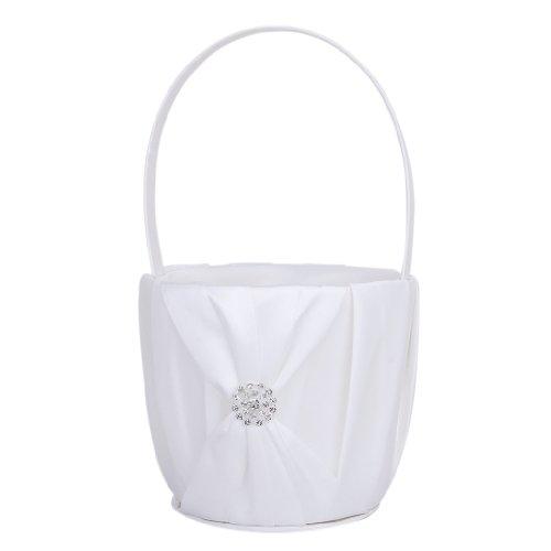 Panier de Fille de Fleur en Satin Blanc avec Décor de Strass pour Mariage