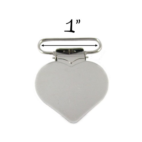 "10 - Heart Shaped 1"" Metal Suspender Clips - w/ Rectangle Inserts - 1"