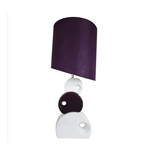 Elegant Designs LT1038-PRP Stacked Circle Ceramic Table Lamp with Asymmetrical Shade, Purple