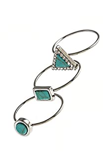 buy Karmas Canvas Geometric Faux Stone Crystal Ring Set (Turquoise)