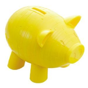 Picture of Beverly Enterprises CRYSTAL PUZZLE Piggy Bank Yellow BNK-002 (B0049W7BG6) (Pegged Puzzles)