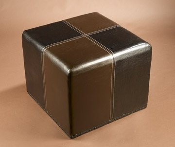 Faux Leather Square Ottoman in Burgundy/Brown Finish by AA Importing