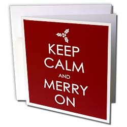 EvaDane - Funny Quotes - Keep calm and merry on. Christmas. Holidays. - Greeting Cards-6 Greeting Cards with envelopes from 3dRose LLC
