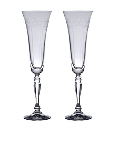 D&V Set of 2 European Etched Glass Champagne Flutes, Clear