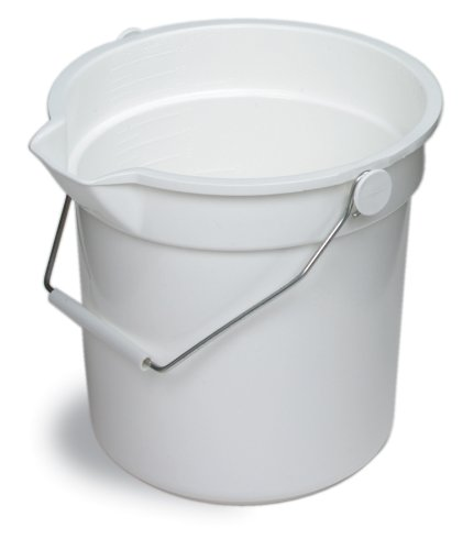 Continental 8110WH, Huskee White Bucket with Steel Handle and Pour Spout, 10qt Capacity, 10-5/8