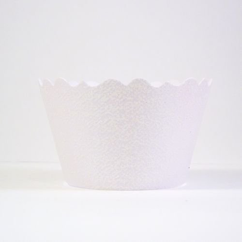 Bella Cupcake Couture 633131980233 Glitter Cupcake Wrappers, Opal White, Set Of 12 front-788529