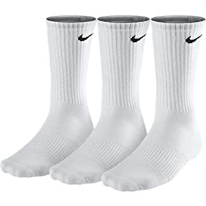 3 pairs Nike Crew Socks Mens Pack White Size M L XL Cotton Running Tennis athletic SX4700 101 New (L/ 8-11 UK/ 42-46 euro)