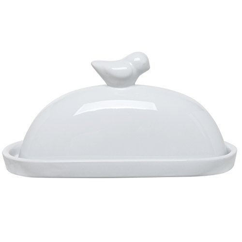 MyGift® White Bird Design Decorative Ceramic Butter Dish and Lid Cover (White Covered Butter Dish compare prices)