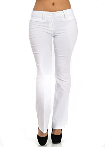 Mid Rise Classic Dress Straight Legged White Pants 10175