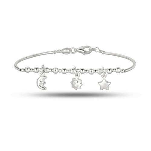Baby Bangle With Sun, Moon And Star 5.5 Inches In Sterling Silver