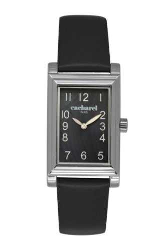Cacharel CLD/AA - 007 Women's Quartz Analogue Watch-Black Face-Black Leather Strap