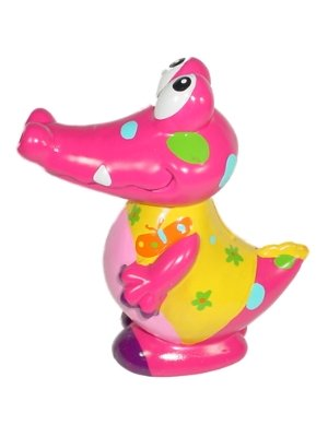 Crocodile Bank Hand Painted Ceramic Piggy Bank Pink
