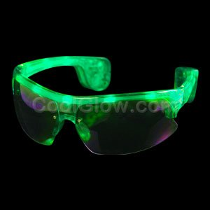 LED Sporty Sunglasses - Green - 1