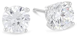 1/3 Carat 14K White Gold Solitaire Diamond Stud Earrings Round Cut 4 Prong Push Back (Light Gray Color, I1-I2 Clarity)