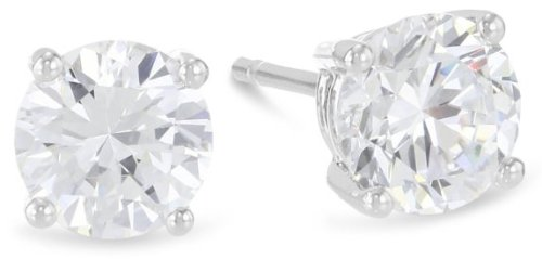 2 Carat GIA Certified Platinum Solitaire Diamond Stud Earrings Round Brilliant Shape 4 Prong Push Back (H Color, VS2 Clarity, 2 ctw) (Gia Diamond Earrings Platinum compare prices)