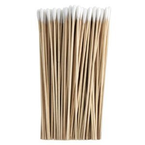 HTS 101K0 6 Inch 100 Piece Wood, Cotton Tip, Applicator Swab