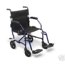 Light 14.8 lbs Medline Freedom Transport Wheelchair 300 lb Cap Chair, BLUE