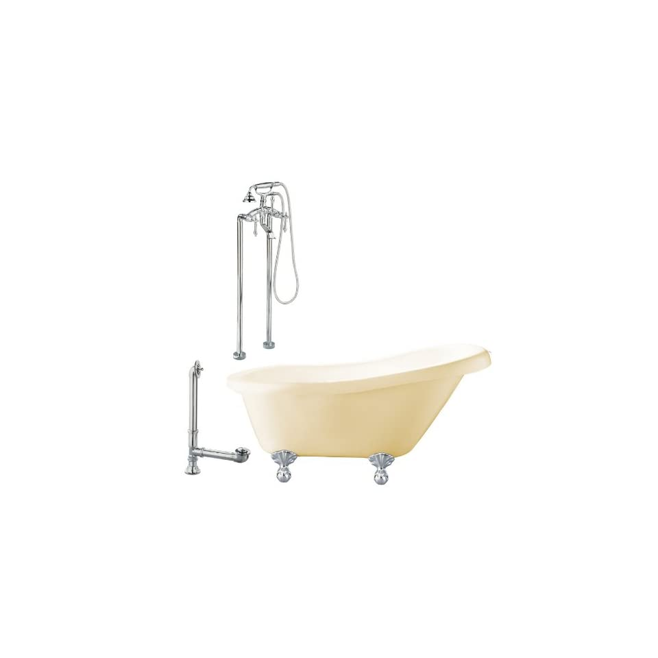 Hawthorne 60 Slipper Tub with Floor Mount Faucet Faucet Finish Polished Chrome, Tub Color Bisque