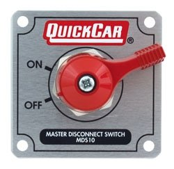 "QuickCar Racing Products 55-022 Silver 2-1/2"" High x 2-1/2"" Wide Panel Battery Master Disconnect Switch with Alternator Post and Mounting Panel"