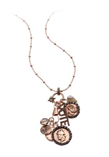 Amaro Jewelry Studio 'Release' Collection 24K Rose Gold Plated Chain with Fancy Medallions Set with Labrador, Hematite, Pyrite, Black Tahiti Pearls